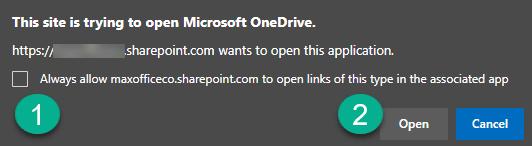 OneDrive sync permission dialog