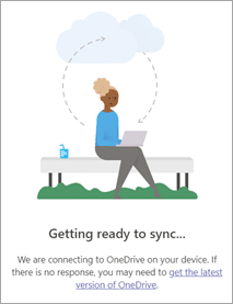 OneDrive file sync from browser information dialog