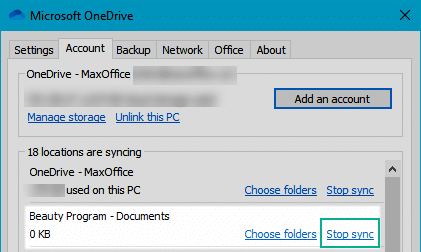Stop sync option in OneDrive